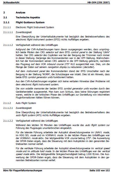 Flugzeugabsturz Crossair 3597 Teil 5-0: Der Abschlussbericht des BfU ...